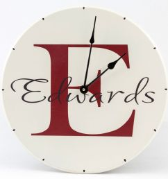 personalized wooden wall clock with family name and monogram with red letter name and white background [ 1028 x 971 Pixel ]