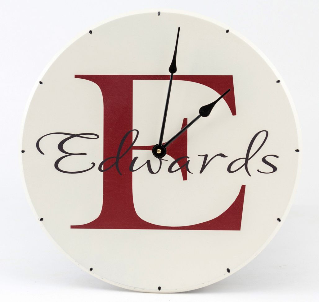 hight resolution of personalized wooden wall clock with family name and monogram with red letter name and white background