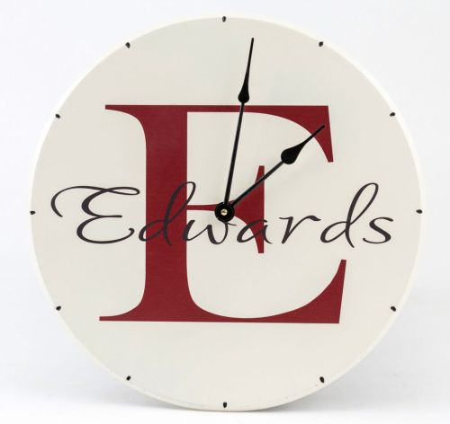 small resolution of personalized wooden wall clock with family name and monogram with red letter name and white background