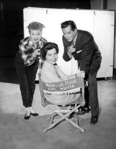 Madelyn Pugh Davis on set with Lucille Ball and Desi Arnaz