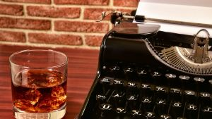 A cocktail and a typewriter