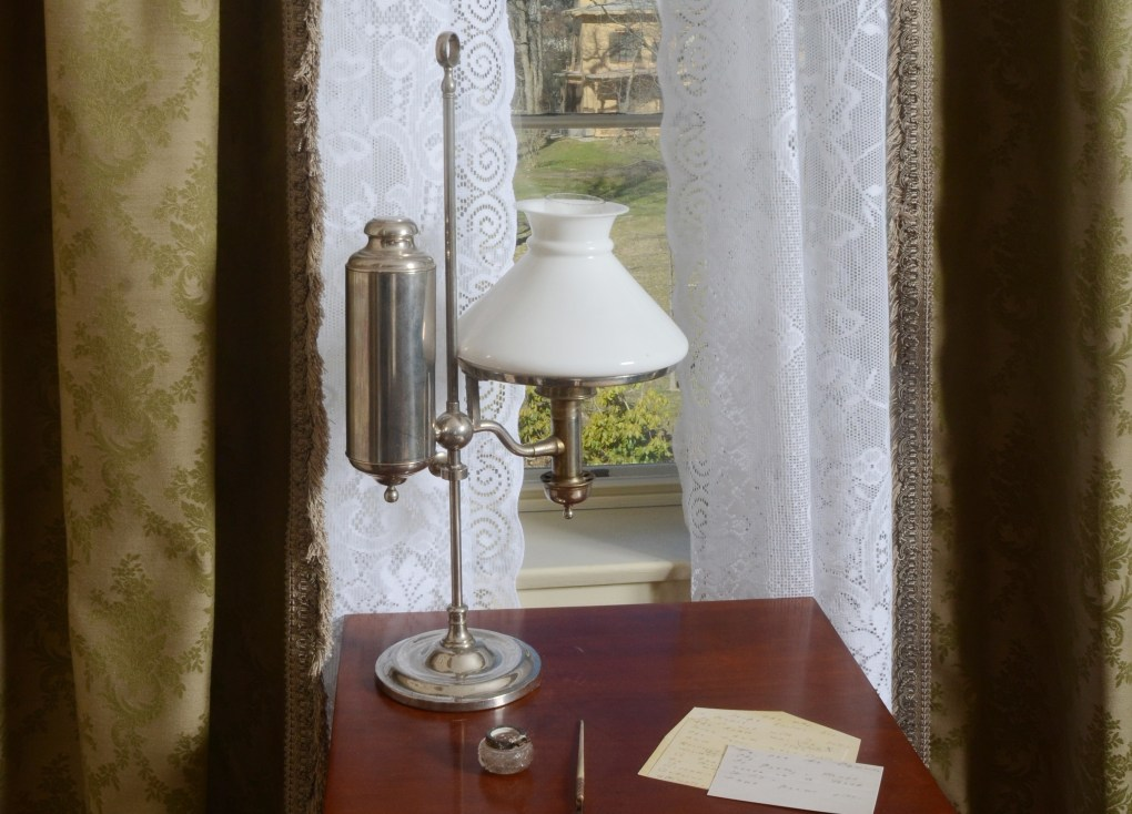 Emily Dickinson's desk with papers at her home in Massachusetts