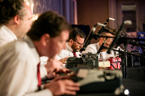 Boston Typewriter Orchestra players performing at the American Writers Museum Annual Benefit in Chicago