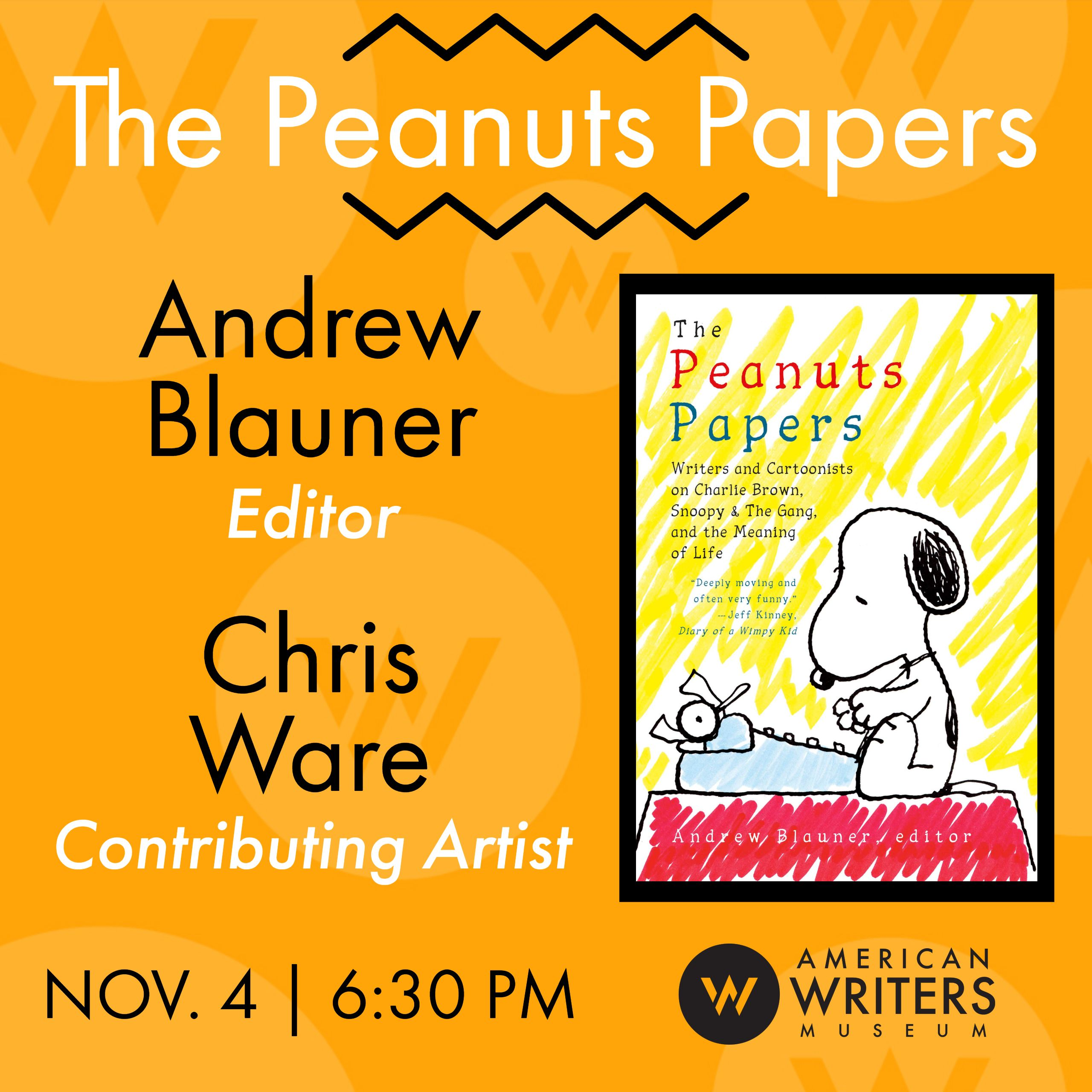Editor Andrew Blauner and contributing artist Chris Ware present the anthology The Peanuts Papers at the American Writers Museum on November 4