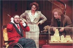 "Nathan Lane, Harriet Harris and Stephen DeRosa in ""The Man Who Came to Dinner"" in 2000."