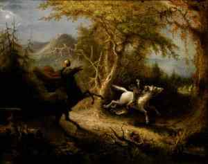 Painting of the Headless Horseman pursuing Ichabod Crane