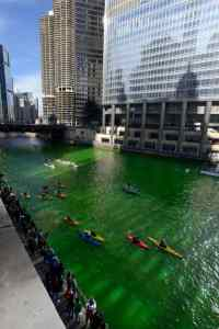 photo of the Chicago River dyed green