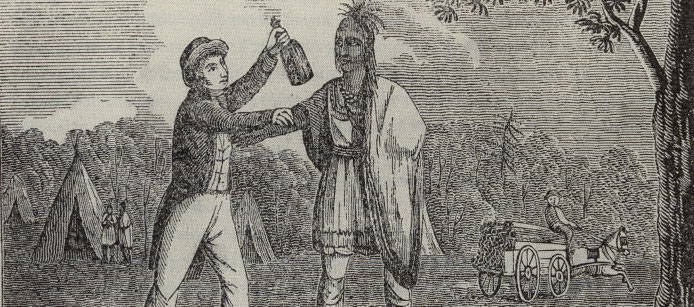 A black and white illustration of a white settler (left) and a Native American man (right). The settler holds the Native American man's forearm with one hand and a bottle in the other as the Native American stares on at him. In the background behind the settler are teepees and other Native Americans. Behind the Native American man is a settler driving a horse-drawn cart with lumber.