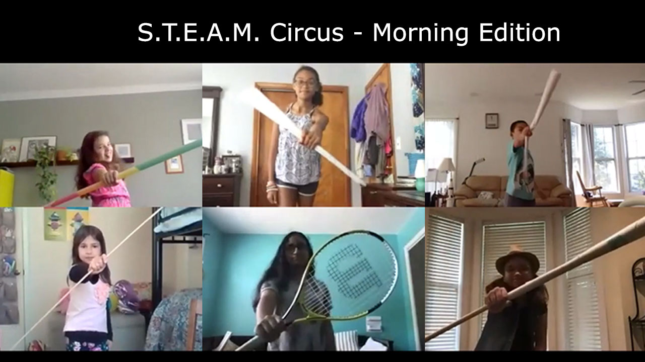 five circus youth pose with sports equipment like tennis rackets and baseball bats