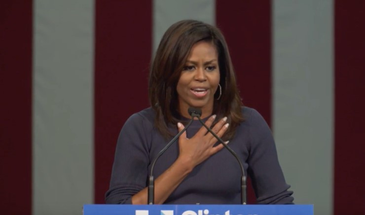 First Lady Michelle Obama speaks of the dignity women under assault from powerful men