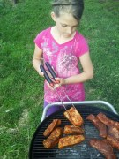 Putting ribs on the grill