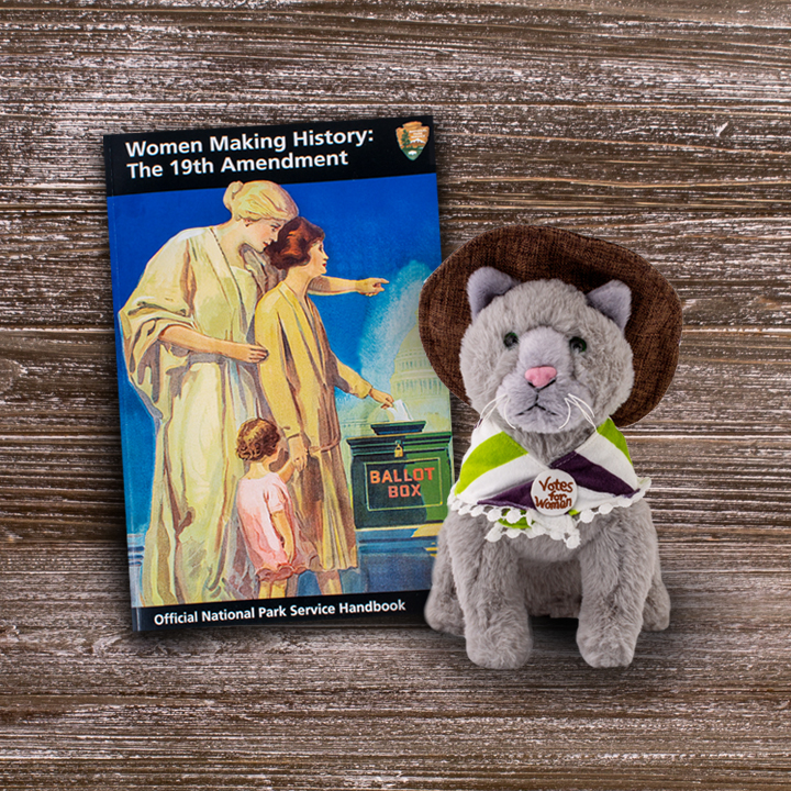 NPS 19th Amendment Handbook and Suffrage Cat Plush