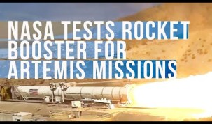 NASA Tests Space Launch System Rocket Booster for Artemis Missions