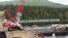Aleknagik Wood River Bridge under construction