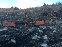 Drills working at Green Mountain Quarry - Photo KIEWIT INFRASTRUCTURE WEST CO_