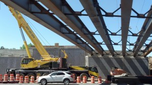 Photo - Crane Staged for Setting Steel Off-Peak