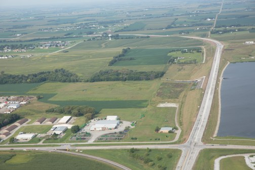 Aerial images of the Wahoo Expressway of Highway 77 passing by Lake Wanahoo. Photo by Dan Luedert