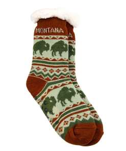 Montana Adult Bison Pattern Socks