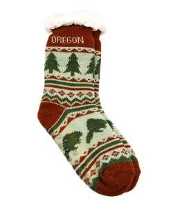 Oregon Adult Tree Pattern Socks
