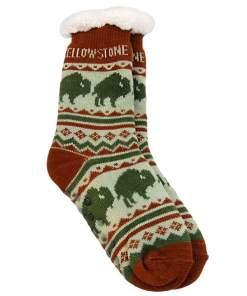 Yellowstone Adult Bison Pattern Socks