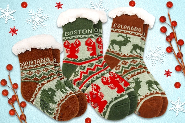 Slipper Socks with Christmas background