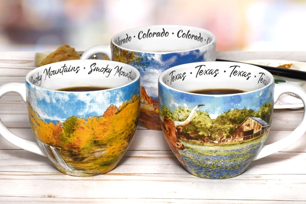 Three colorful Watercolor Mugs