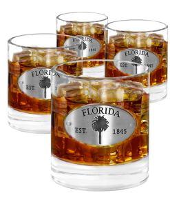 Florida 4 Whiskey Glasses