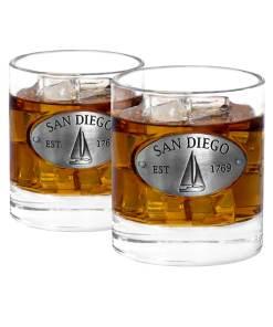 Two San Diego Whiskey Glasses
