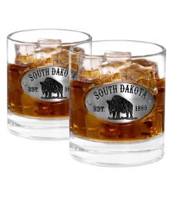 Two South Dakota Whiskey Glasses