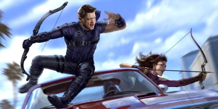 Jeremy Renner as Clint Barton with Kate Bishop in Hawkeye Show Concept Art