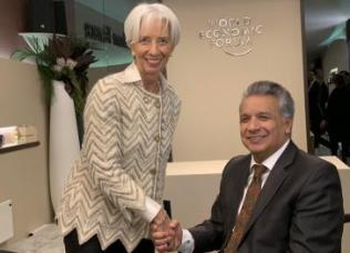 IWF-Chefin Christine Lagarde mit Ecuadors Präsident Lenín Moreno beim Weltwirtschaftsforum in Davos im Januar 2019