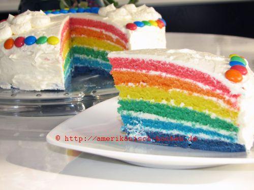 Rainbow Cake RegenbogenkuchenRegenbogentorte  amerikanischkochende