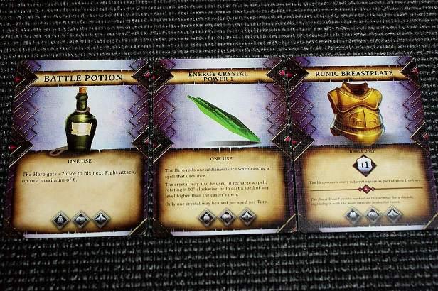 Wat items die de Helden in hun exploration kunnen vinden (of maken, in het geval van de Crystal. De Wizard kan deze genereren door een Crystalize spreuk).