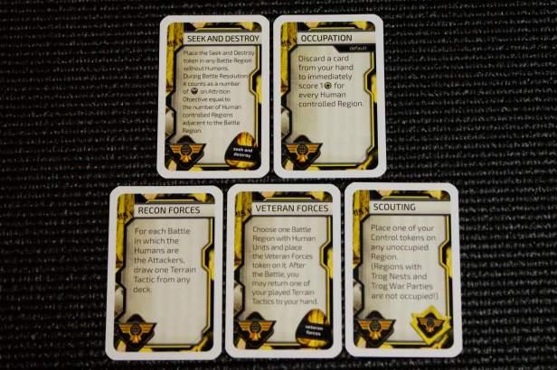 De skill kaarten voor de gele speler (Humans).