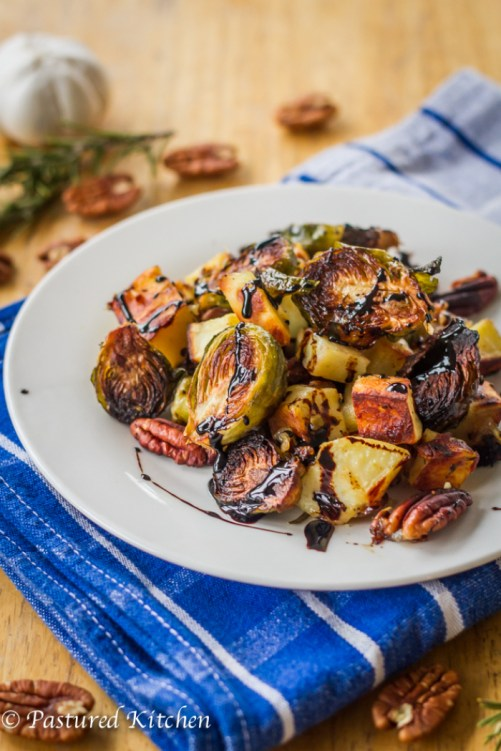 Sweet Potatoes, Brussels Sprouts and Pecans with Balsamic Drizzleby Pastured Kitchen