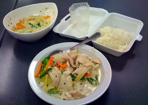 Thai green curry dinner