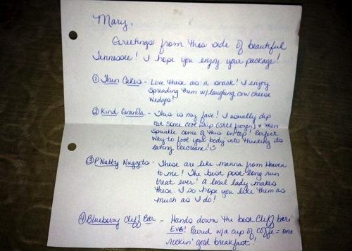 foodie penpal letter