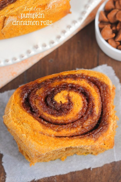 lighter pumpkin cinnamon rolls - healthy thanksgiving dessert