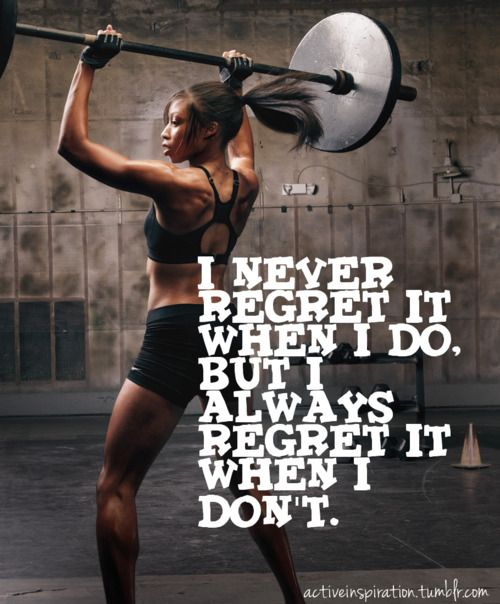fitness motivation quote - workout regret