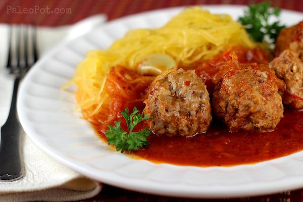 healthy advocare recipes - paleo spaghetti squash and meatballs