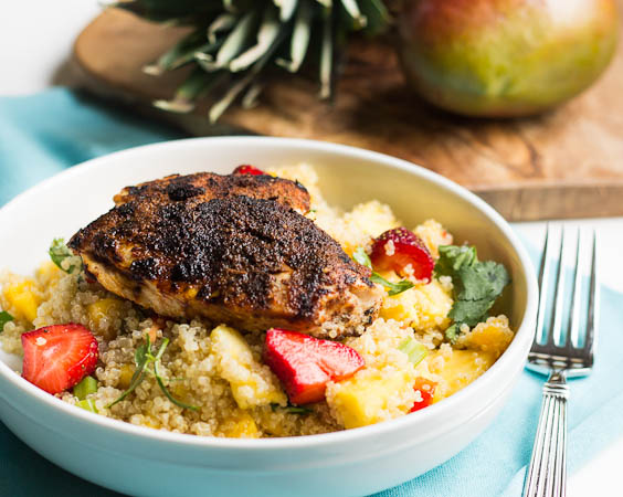 healthy recipe for advocare challenge - jerk chicken with caribbean quinoa