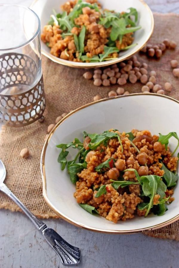 couscous recipes - sriracha bbq chickpea couscous