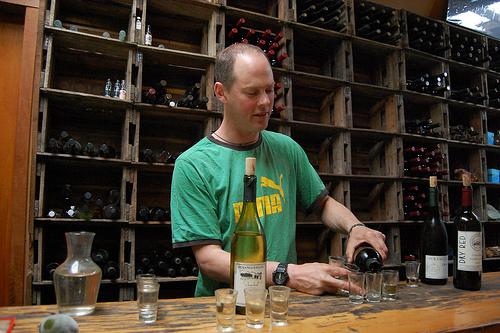 wine tasting dude purangi winery in new zealand