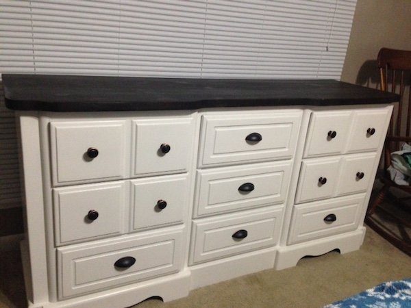 DIY White Painted Dresser after