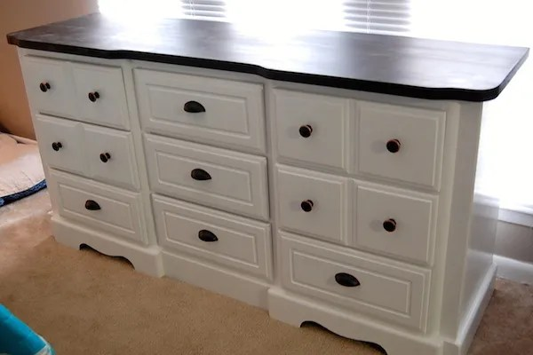 DIY White Painted Dresser makeover
