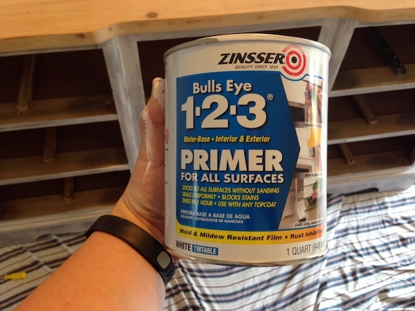 DIY White Painted Dresser primer coat