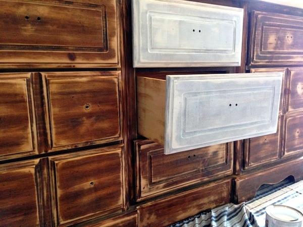 DIY White Painted Dresser primer steps