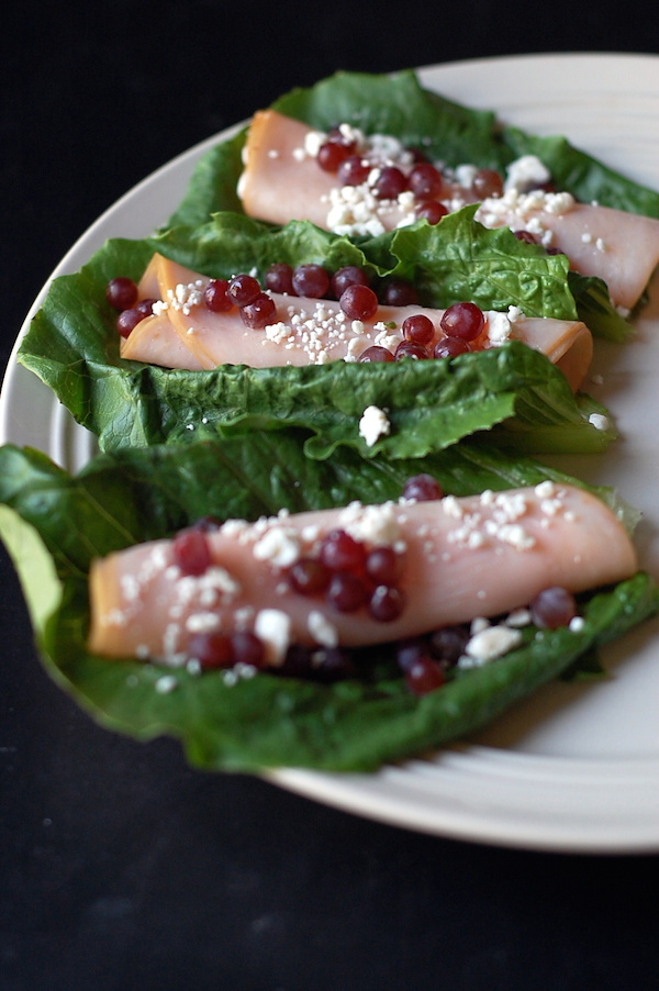 champagne grapes turkey feta roll up lunch recipe