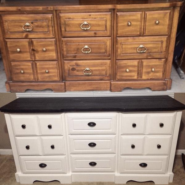 diy painted white dresser furniture makeover