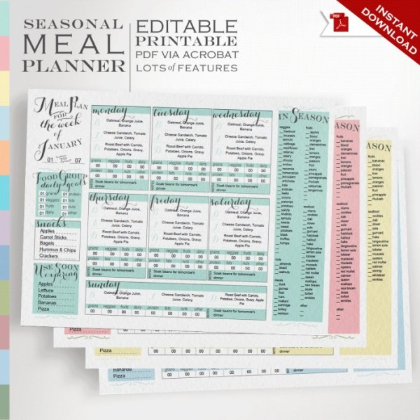 Ultimate Meal Planner - Plan meals by foods in season, food group goals, expiring foods each month